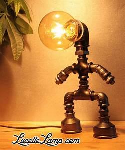 Tuyau Fonte Noir : lampe chien robinet noir lampe industrielle m tal pipe lamp bedside table lamps et ~ Dode.kayakingforconservation.com Idées de Décoration