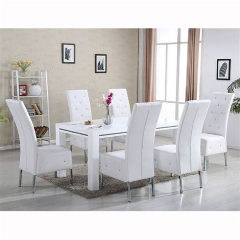 Modern 7 piece dining room set furniture glossy white rect table & 6 chairs icei. Diamante Dining Table In White High Gloss With 6 Asam ...