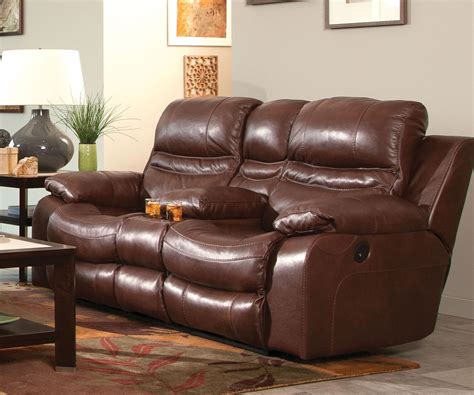 recliner loveseat with console catnapper patton top grain italian leather lay flat power