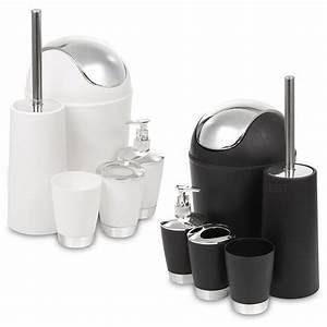 5 piece bathroom matching accessory set black white With matching bathroom accessories sets