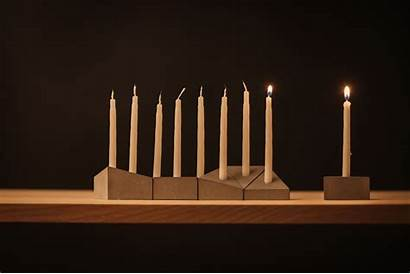 Menorah Blocks Milk Concrete Prism Shaped Hanukkah