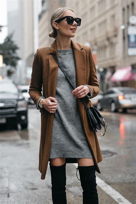 effortless   style  grey sweater dress fashion