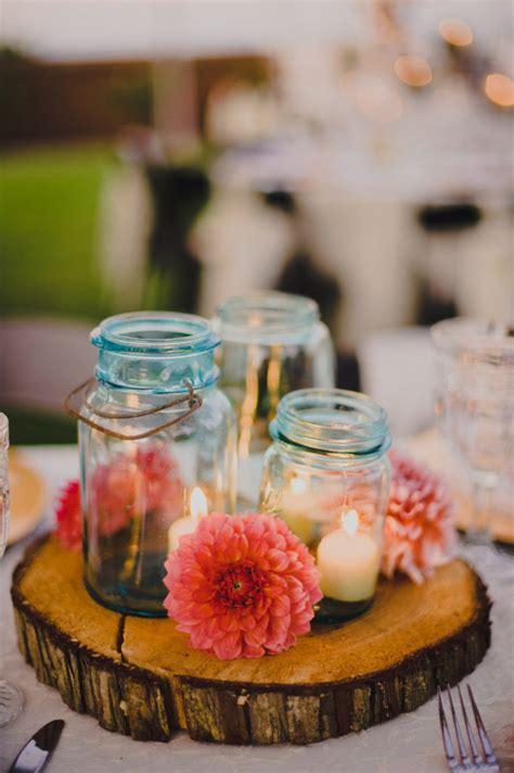 Blue Mason Jar Rustic Wedding Centerpieces Home