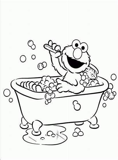Coloring Elmo Pages Bathroom Activity Children Printable