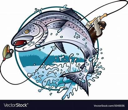 Salmon Fishing Vector Vectorstock Fish Fisherman Royalty