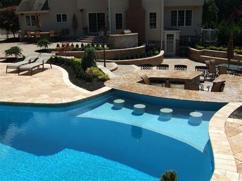 Beautiful Pool With Integrated Outdoor Kitchen Bar Stools