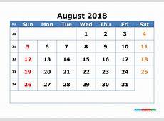 August 2018 Calendar with Week Numbers Printable 2018