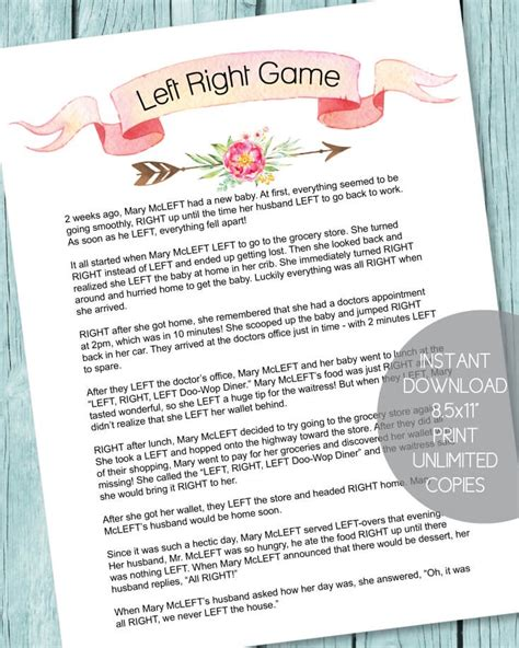 left and right and across christmas tale printable left right baby shower boho arrow theme print it baby