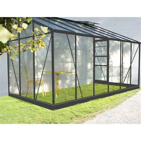 serre de jardin adossee en verre serre de jardin adoss 233 e grise verre tremp 233 7 22m 178 embase
