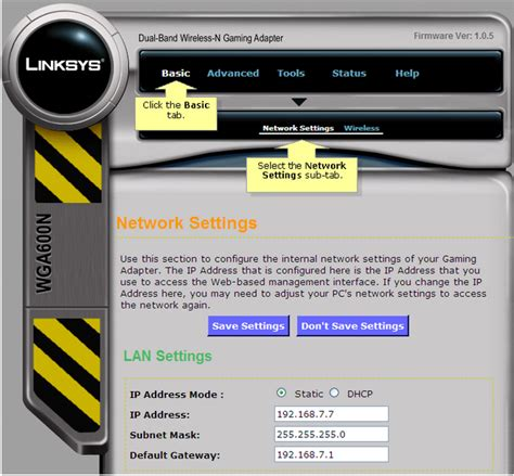Linksys Official Support Connecting A Wga600n To A Linksys Official Support Changing The Lan Ip Address Of