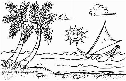 Pantai Gambar Pemandangan Mewarnai Laut Tepi Pohon