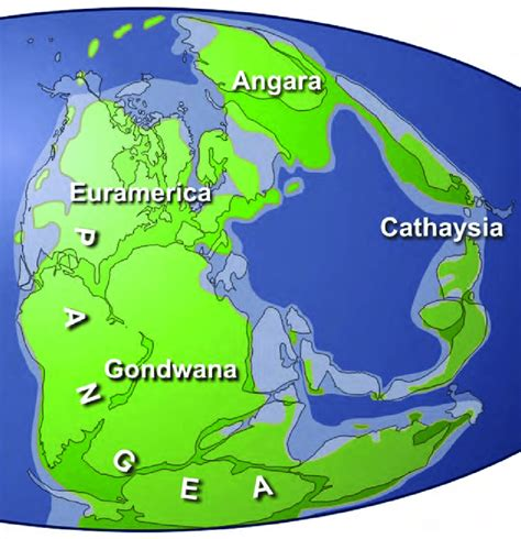 The Late Paleozoic supercontinent, Pangea. Four major ...