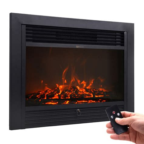 fireplace electric embedded insert heater glass view