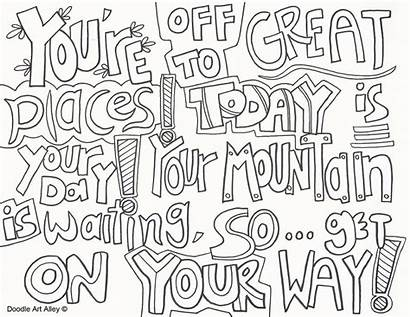 Coloring Graduation Doodle Alley Sheets Adult Quote