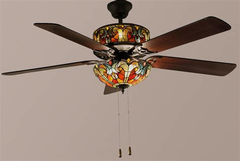 tiffany style ceiling fan light shades tiffany style 52 quot halston double lit stained glass ceiling