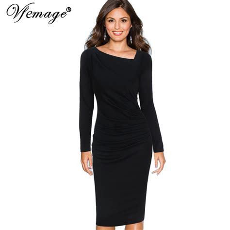 3 4 sleeve sheath dress vfemage womens asymmetric neck draped slim