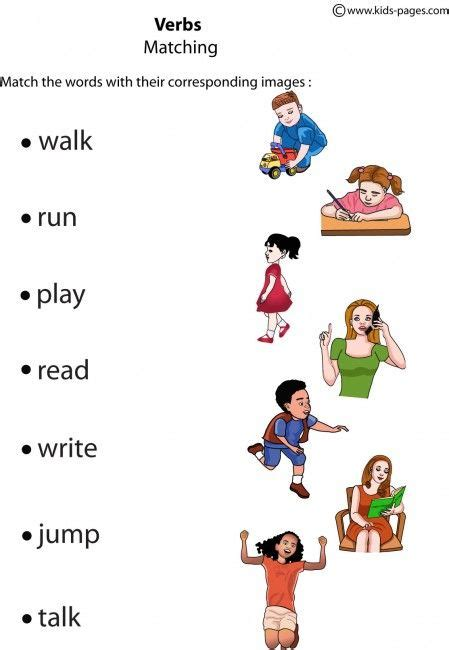 verbs matching  worksheets  images english