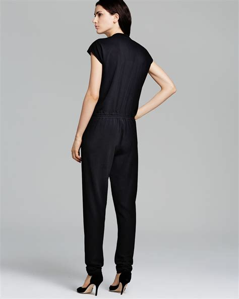 vince jumpsuit vince jumpsuit zip front in black lyst