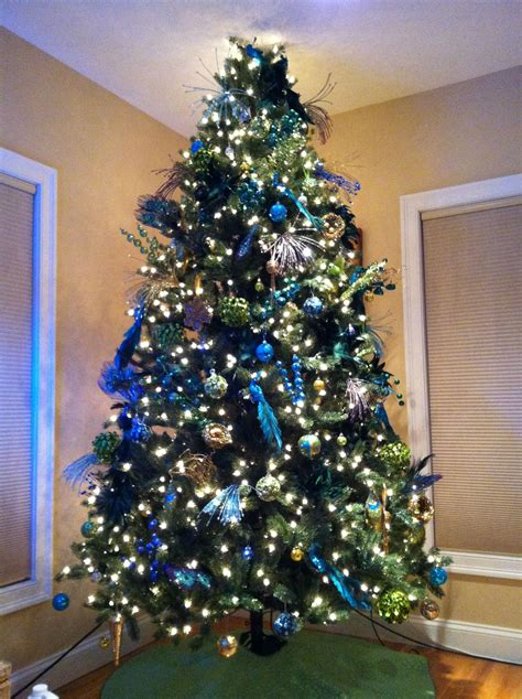 peacock themed tree gold turquoise purple royal blue