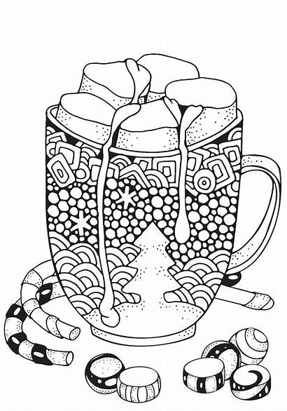 Christmas Chocolate Mug Coloring Pages Marshmallow Printable