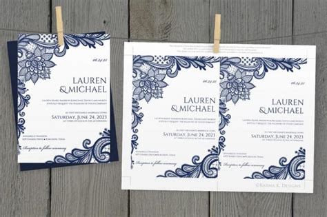 diy wedding invitation template download instantly editable text ornate lace navy blue