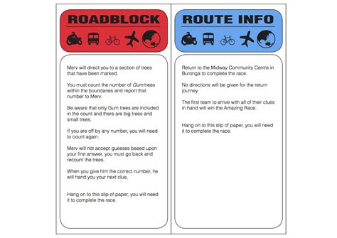The Amazing Race Clue Template by Amazing Race Clues Printable Images