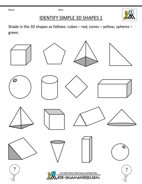 nets of 3d shapes worksheet search std 1