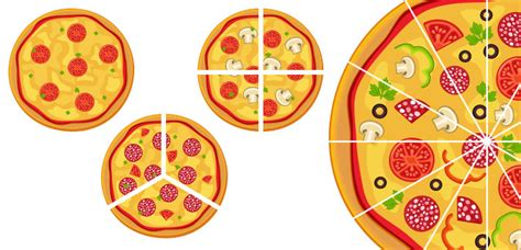 Pizza Fraction Cut Outs Clipart - Free Clipart