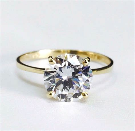 14k solid yellow gold solitaire cz engagement ring 8mm cubic zirconia 2 carat ebay