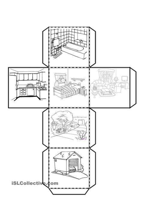 cube   parts   house worksheet  esl