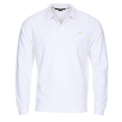 Mens Optic White Dry Long Sleeve Polo Shirt