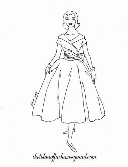 Coloring Pages Barbie 1950s Printable Sketch Colouring