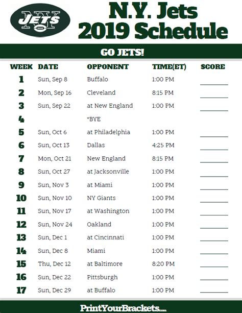 printable ny jets schedule  season