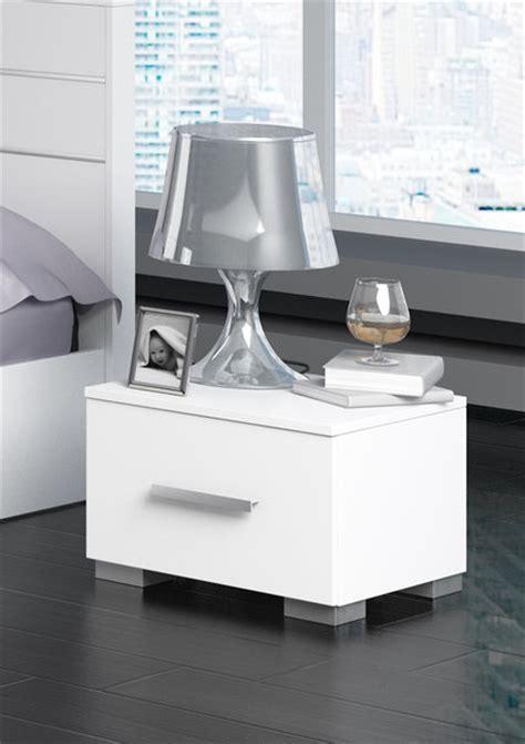 table de chevet design laque blanc