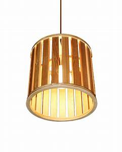 Ems e pendant light drum shaped wooden shade hanging