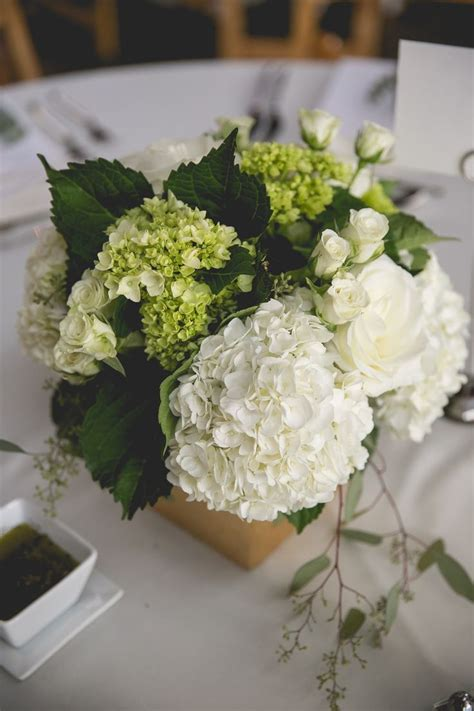 Green And White Hydrangea With Seeded Eucalyptus And Spray