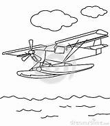 Coloring Plane Sea Propeller Drawn Hand sketch template