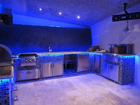 kitchen great kitchen decoration with blue led lighting