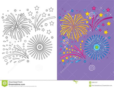Coloring Book Of Christmas Fireworks Stock Illustration