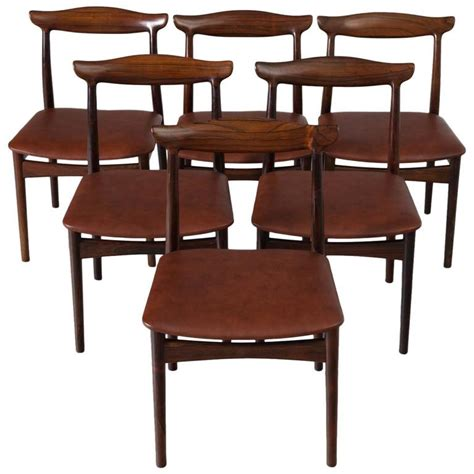 erik w 248 rts set of six dining room chairs in rosewood and new brown leather for sale at 1stdibs