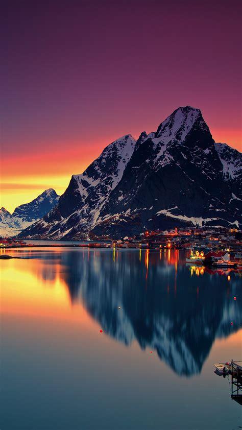 wallpaper norway lofoten islands europe mountains sea