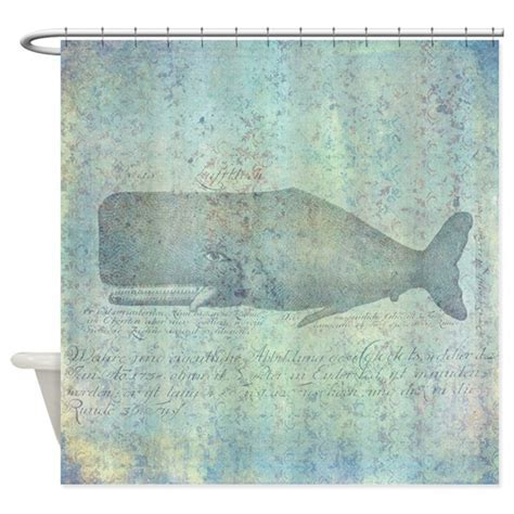 Vintage Whale Illustration Nautical Shower Curtain by