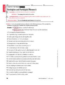 participles and participial phrases worksheet for 6th 8th grade lesson planet