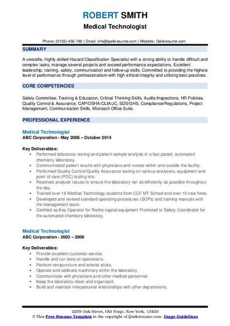 Technologist Resume by Technologist Resume Sles Qwikresume