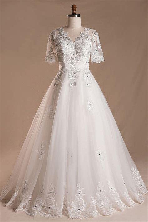 A Line V Neck Short Sleeve Tulle Lace Beaded Wedding Dress ...