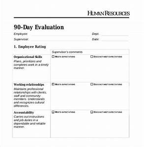90 day employee evaluation form olalapropxco With 90 day review template