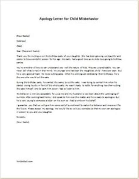 apology letter  child misbehavior writelettercom