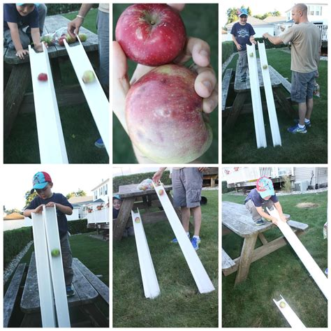 apple gravity experiment for preschool physics 805 | apple gravity experiment science play testing ramps and angles