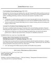 resume format for banking sector banking resume exle