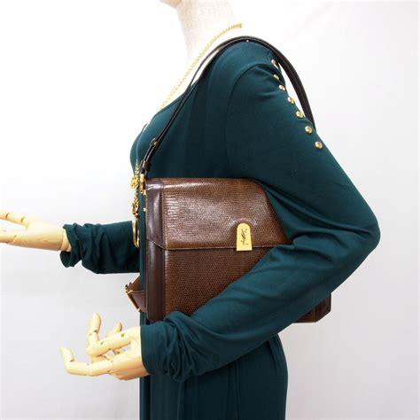 vintage yves saint laurent ysl genuine lizard square flap shoulder bag mint ebay